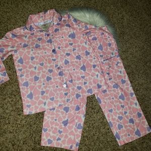 ❗2/$18 | WONDER KIDS Pink & Purple Hearts PJ Set